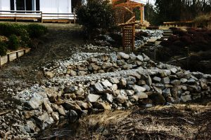 Bobcat services - Extensive retaining wall and rock wall construction services Langley home.